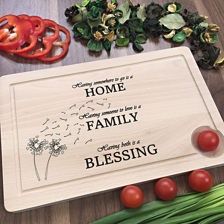 Having Somewhere To Go Is A Home - Family Engraved Cutting Board