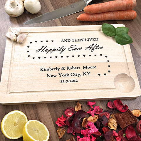 Happily Ever After - Personalized Wooden Cutting Board For Newlyweds