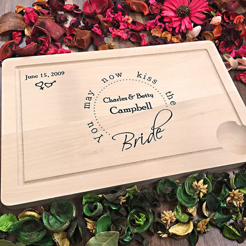 Kiss The Bride - Stylish Custom Engraved Wedding Cutting Board