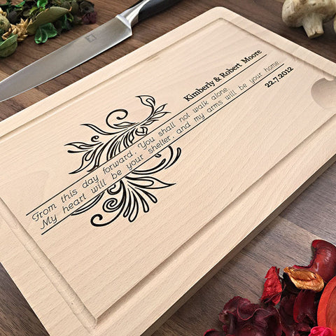 You Shall Not Walk Alone - Custom Engraved Wedding Cutting Board