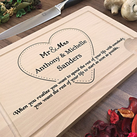 When You Realize - Custom Engraved Cutting Board With Romantic Quote