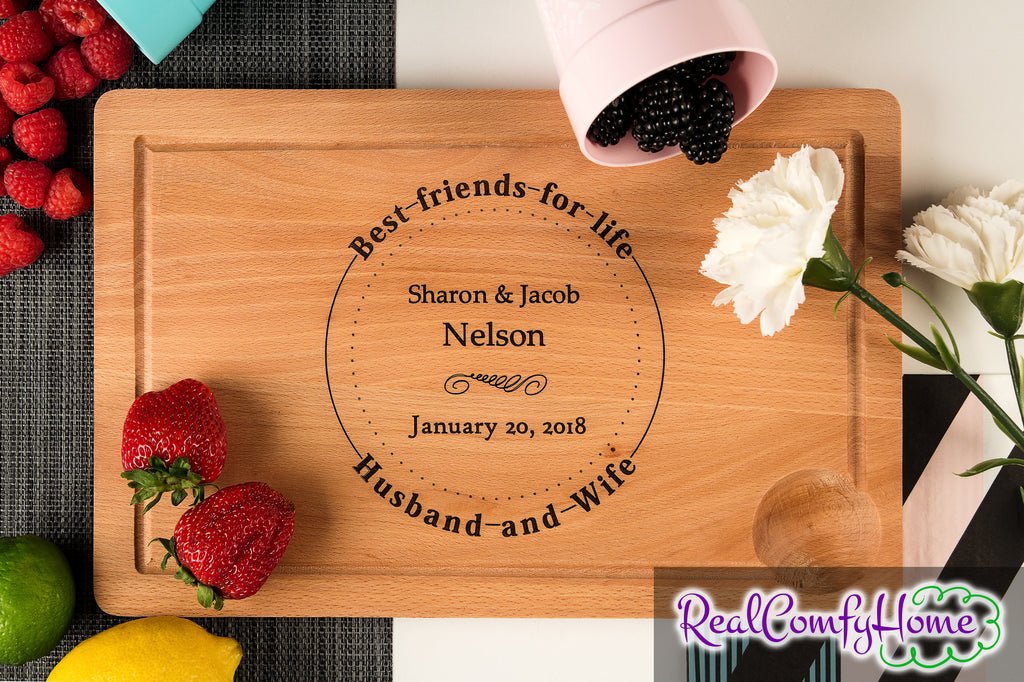 Best Friends For Life - Personalized Cutting Board - Wedding Gift
