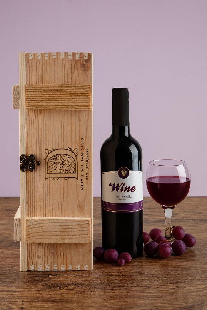Monogrammed Wine Box - Personalized Wedding Gift