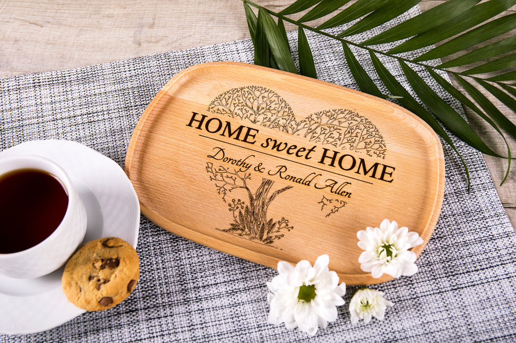 Personalized Wooden Platter With Home Sweet Home Engraving