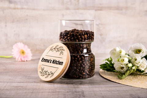Personalized Kitchen Gift For Her - Glass Jar With Engraved Lid