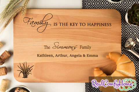 Family Is The Key To Happiness - Custom Engraved Housewarming Gift