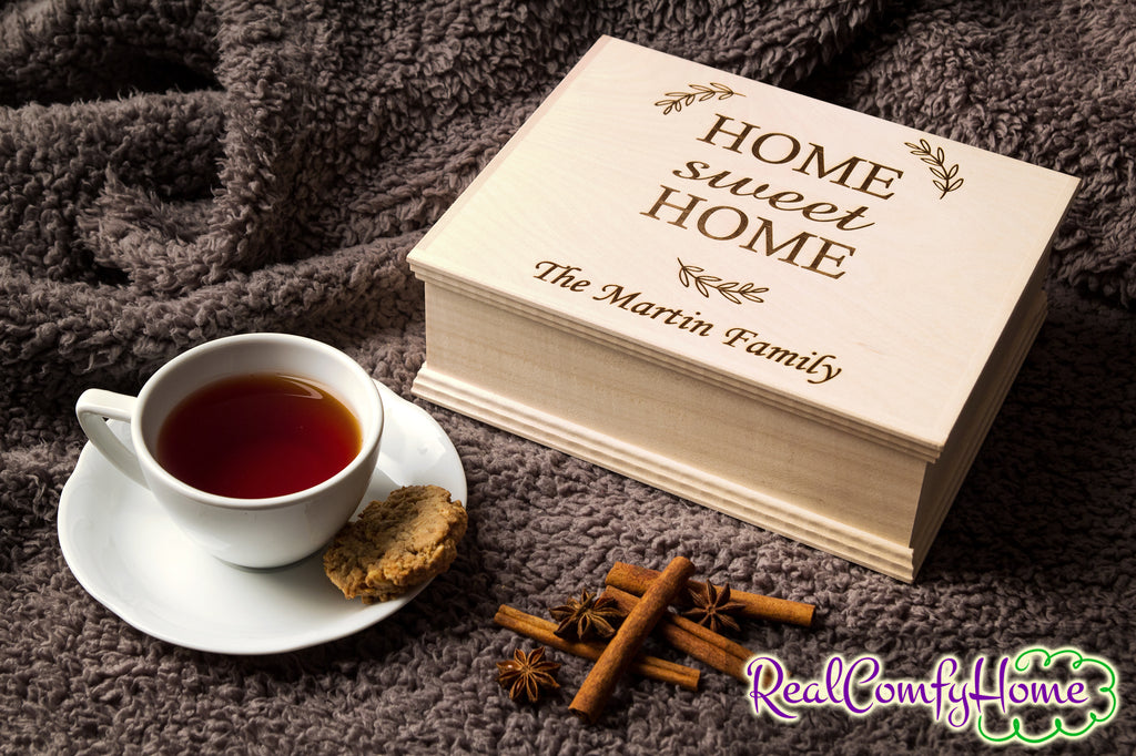 Home Sweet Home - Personalized Wooden Box - Housewarming Gift