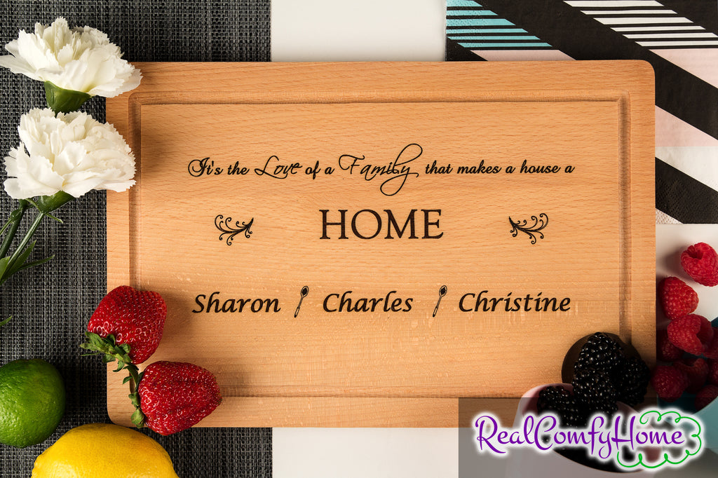 Love Makes A House A Home - Personalized Romantic Cutting Board