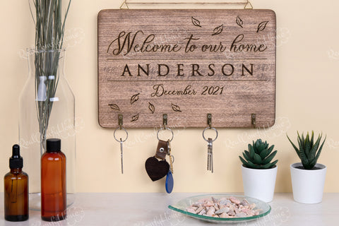 Personalized Key Holder For Wall - Family Gift Idea