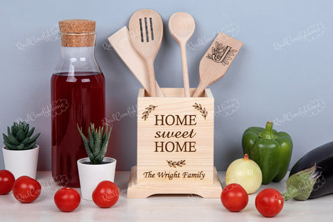Home Sweet Home - Engraved Kitchen Utensil Holder