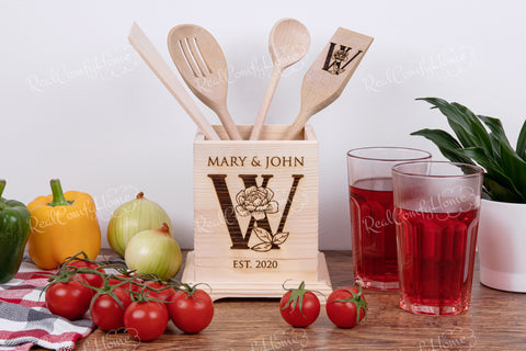 Decorative Kitchen Utensil Holder - Engraved Housewarming Gift