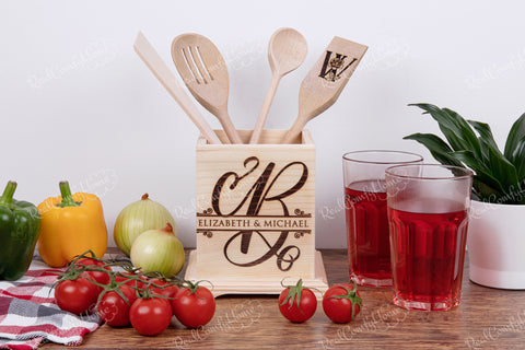 Housewarming Family Utensil Holder - Elegant Monogram Collection