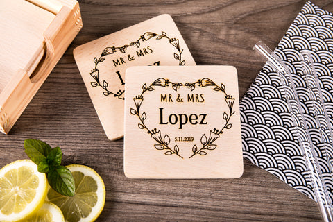 Personalized Coasters - Wedding Or Anniversary Gift