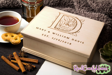Monogrammed Wooden Box - Personalized Tea Or Keepsake Box
