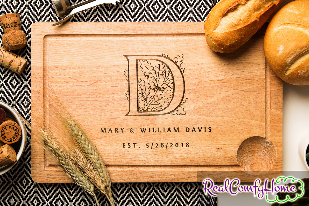Personalized Cutting Board With Monogram - Wedding Gift