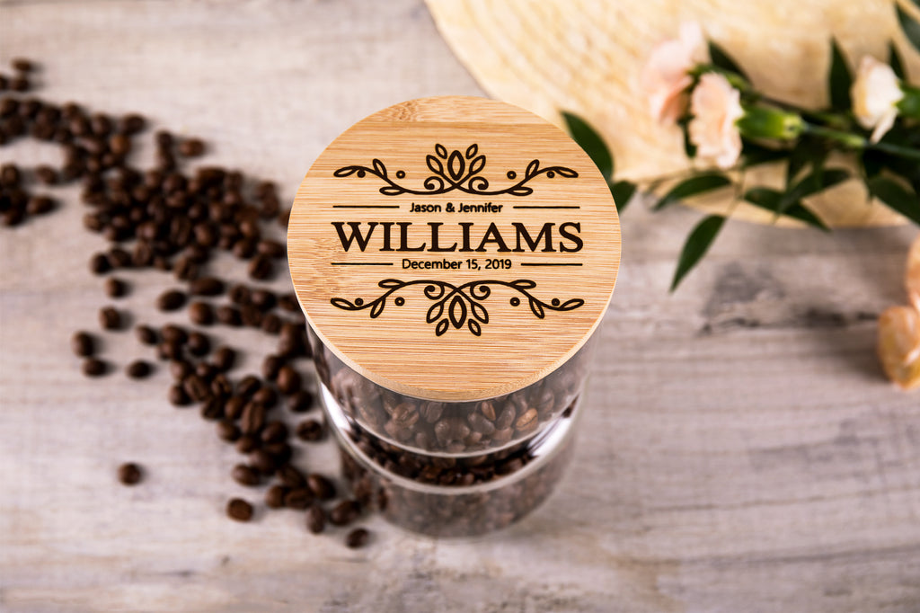 Personalized Glass Jar With Engraved Lid For The Couple