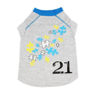"Cat Dog Pet T Shirt, Cotton ""Puzzle 21"""