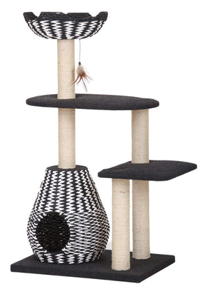 Modern Black & White Weave Cat Condo Tree Perch Lounge, Suite