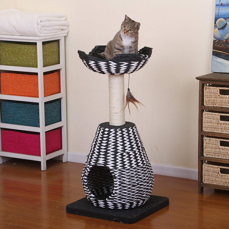 Modern Black & White Weave Cat Condo Tree Perch Lounge, Loft
