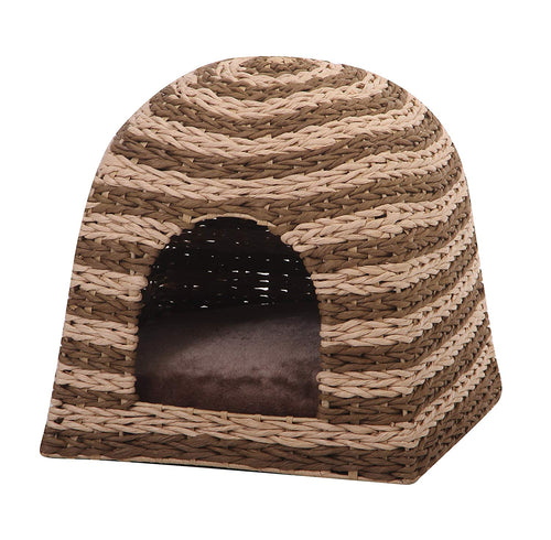 Brown & Beige Weave Cat Condo Cabana