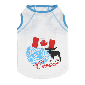 "Cat Dog Pet T Shirt, Cotton ""Oh Canada Flag Moose"""