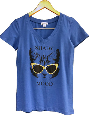 """Shady Mood"" Cat w/ Sunglasses Womens V Neck Tee"