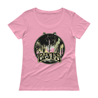 """Cats Of The Earth"" Ladies Sheer Scoopneck T, 4 Colors - Pink, Black, Silver Grey, White"