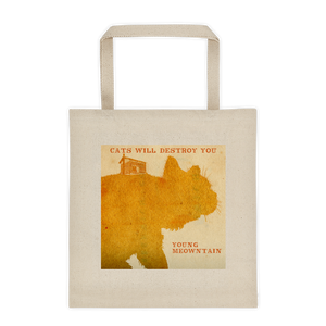 """Cats Will Destroy You / Young Meowntain"" All Purpose Liberty Bag Cotton Tote"