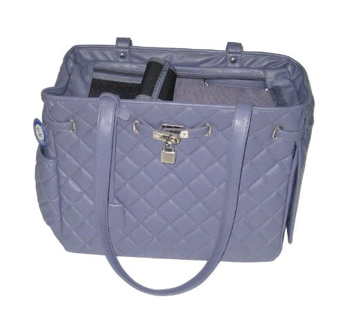 Cat Dog Pet Carrier, Newton Quilt Dusty Blue Fashion Travel Bag