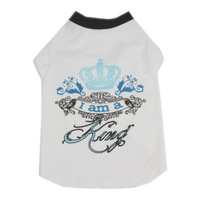 "Cat Dog Pet T Shirt, Cotton ""I Am A King"""