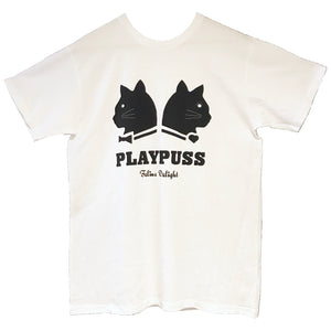 Playpuss Logo Unisex Crewneck T Shirt, White