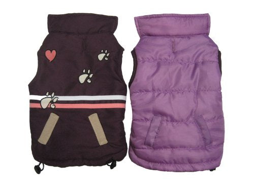 Cat Dog Pet Vest Jacket Reversible! Purple Paw Heart Stripes