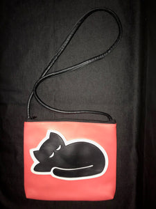 Sleeping Cat Vegan Clutch Purse, Vintage