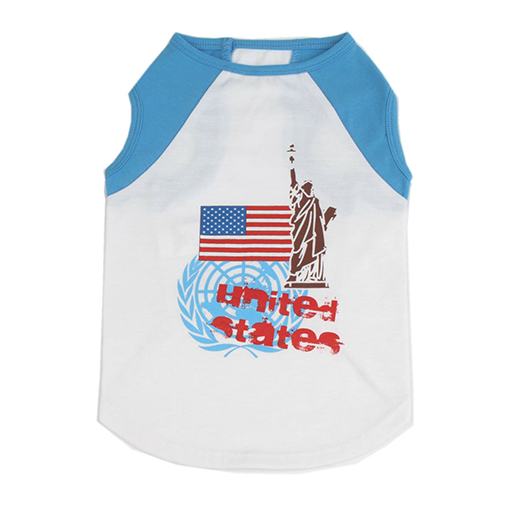 "Cat Dog Pet T Shirt, Cotton ""USA Flag Statue Of Liberty"""