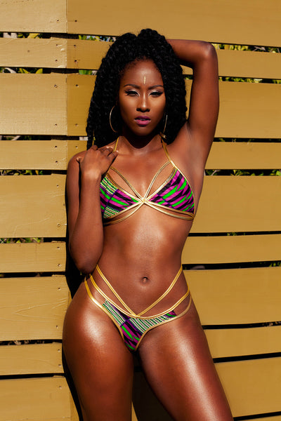 Limited Edition: Royalty Kentekini - 3 String Thong Set Light Gold Metallic Leatherette  ( SHIPS NEXT DAY )