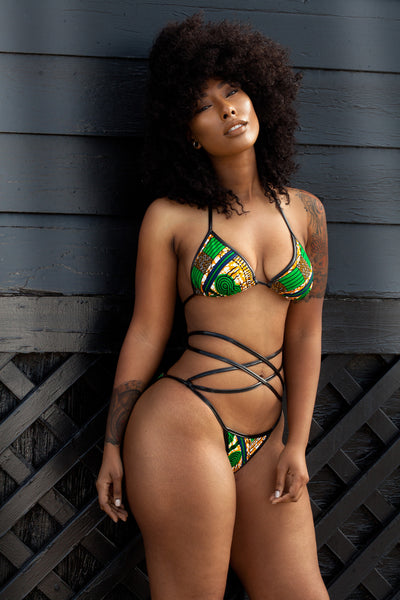 NEW RELEASE- Limited Edition: Kingdom Ankara Full Coverage Bikini Print Black Metallic Leatherette ( SHIPS NEXT DAY )