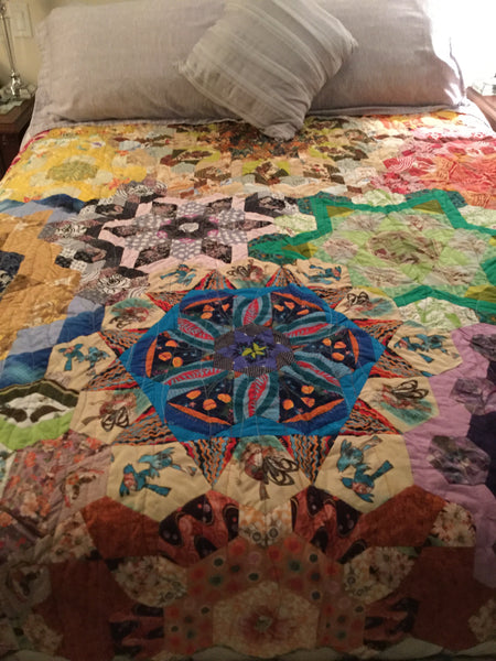 My Finished Hexagon Millefiore Quilt by Annette