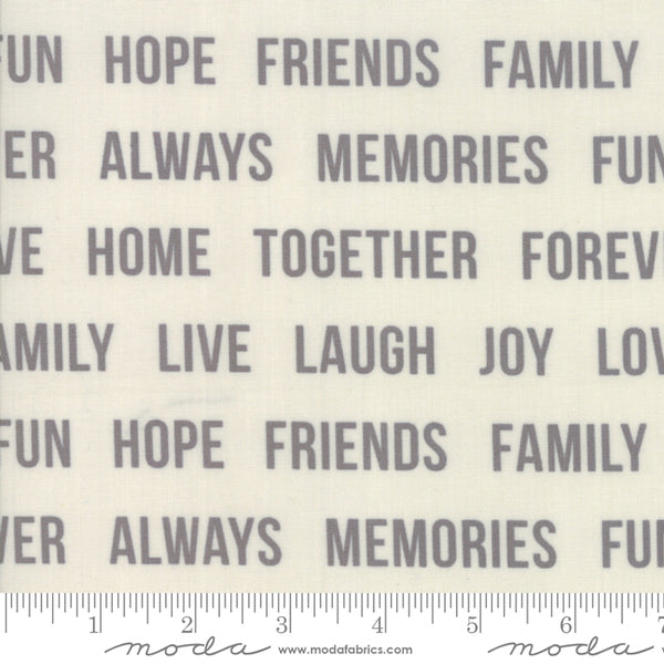 "108"" Urban Cottage Prints - Friends in Ivory/ Grey 511153-21 (1/4 metre) Wide Quilt Back"