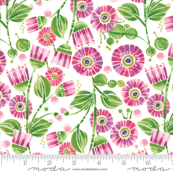 Sweet Pea and Lily - Flowers in Lily White (1/4 metre)