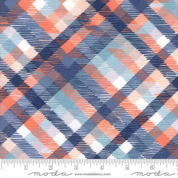 Midnight Garden - Plaid in Dusk and Coral (1/4 metre)