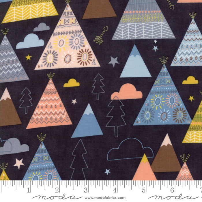 Wild and Free - Teepees, Trees and Mountains in Midnight (1/4 metre)