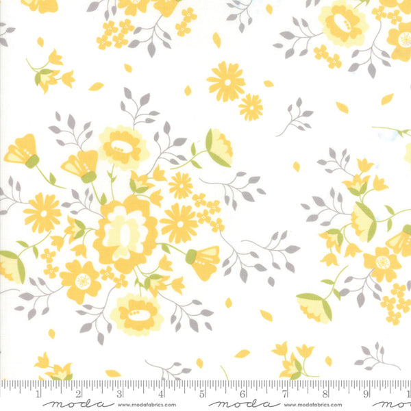 Pepper and Flax - Yellow Flowers in Eyelet (1/4 metre)