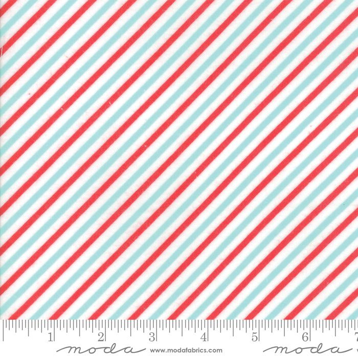 Vintage Holiday by Bonnie and Camille - Candy Stripes in Aqua and Red (FLANNEL) (1/4 metre)