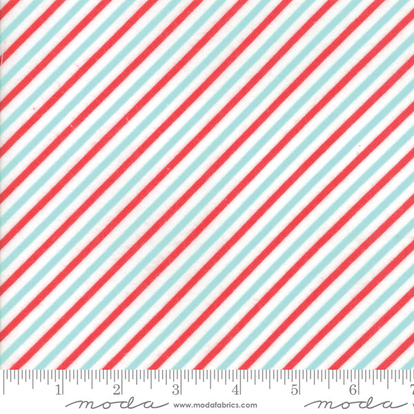 Vintage Holiday Christmas by Bonnie and Camille - Candy Stripes in Aqua and Red (FLANNEL) (1/4 metre)