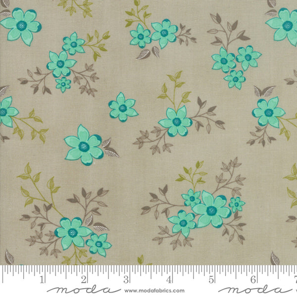 Woodland Secrets - Teal Flowers in Flax (1/4 metre)
