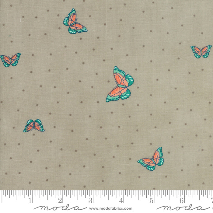 Woodland Secrets - Butterflies in Flax (1/4 metre)