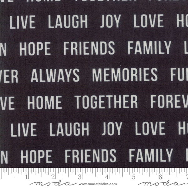 Urban Cottage Prints - Words in Black (1/4 metre)