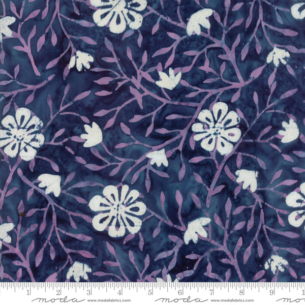 Longitude Batiks- Flowers in Pink and Navy (1/4 metre)