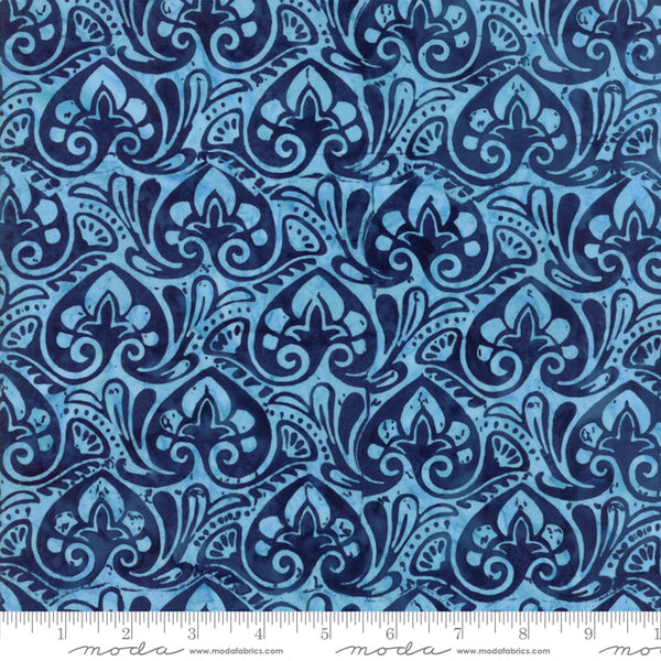 Longitude Batiks- Leaves and Flowers in Navy (1/4 metre)