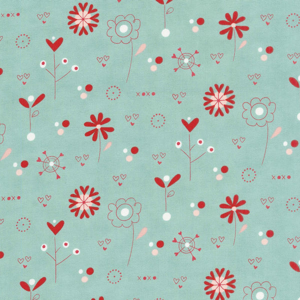 Love You - Wildflowers in Aqua (1/4 metre)